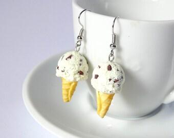 Kawaii stracciatella chocolate icecream cone dangle earrings sweet cute handmade polymer clay