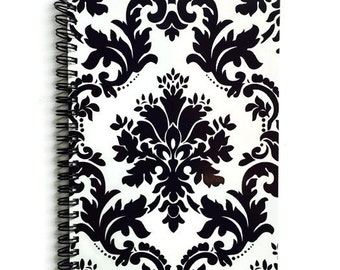 Damask Spiral Notebook, Black & White, Journal, Patterned, Lined Pages, Elegant, Gifts, Organizer
