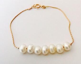 Natural pearl bracelet, 14k gold filled pearl bracelet, sterling silver pearl bracelet, Bridal jewelry, bridesmaid jewelry