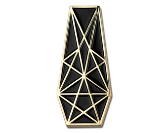 Pentacle Coffin Pin - Gold