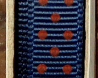 "2 Yards 3/8"" Swiss Dots - Navy with Red Swiss Dots Grosgrain Print Ribbon"