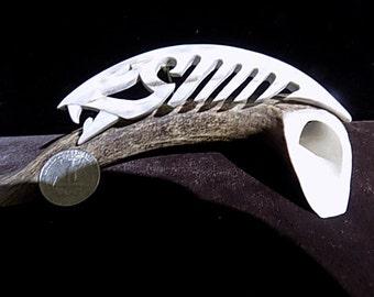 Elk antler fish sculpture