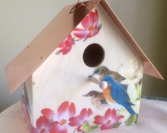 Bluebirds and Dogwood, Copper Roofed Birdhouse