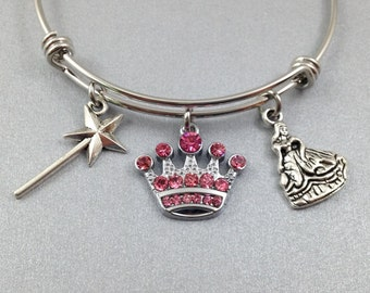 Princess Charm Bracelet, Princess Bangle, Princess Jewelry, Stainless Steel Bangle