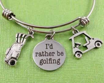 Golf Charm Bracelet, Golf Bracelet, Golf Bangle, Sports Charm Bangle, Sports Jewelry, Golf Bag Charm, Golf Cart Charm, Gift for Golfer