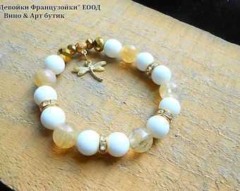 Agate Rutilated quartz Beaded Bracelet Gold Plated Dragonfly Pendant