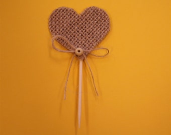Burlap Hearts Cupcake Toppers-Set of 30.