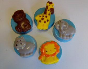 10 Jungle Animal Candy Covered Cookies-Perfect For Baby Showers/First Birthdays/Birthday Parties/Lion/Elephant/Giraffe/Hippo/Monkey