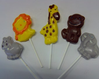 10 Jungle Animal Candy Lollipops-Perfect for Jungle/Zoo Theme Baby Showers/1st Birthdays/Birthday Parties/Cupcake Toppers