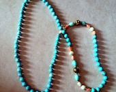 """Vintage 31"""" Turquoise Necklace with Shell Accent Beads - Knotted"""