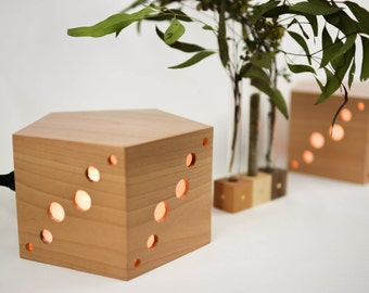 Myrtle pentagon lamp/ Handmade hardwood ambient lighting