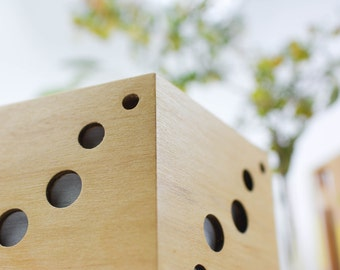 Light Wood Pentagon Lamp/ Handmade plywood ambient lighting