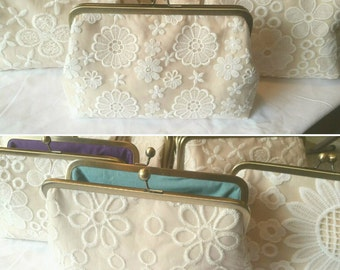 Set of 4 Floral Clutches, Bridesmaid Champagne Clutch Gift Set, Personalized Lace Wedding Clutch, Vintage Style Lace, Eight inch Frame