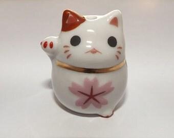 Large Porcelain Cat Bead - Spring - Maneki Neko - Beckoning Cat, Lucky Cat - Raised Paw