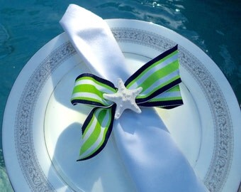 Starfish Napkin Ring Nautical Napkin Ring  Wide nautical stripe bow with white Knobby Sea Star.  Set of 8