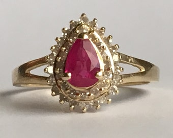 Vintage Ruby Ring. Diamond Halo. 14K Solid Yellow Gold Setting. Unique Engagement Ring. July Birthstone. 15th Anniversary. Estate Jewelry.