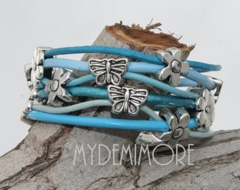 Leather Bracelet, multirow with butterflies and flowers