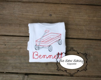 Vintage Sketch Toy Wagon Embroidered Bodysuit with Bean stitch name