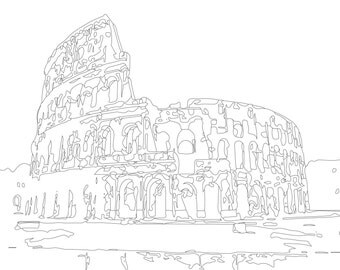 Adult Coloring page, Color Therapy, Digital Download, Colosseum, Rome Italy, architecture, make your own, modern wall art, Ruin