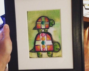 Mama Tortoise - Matted Mixed Media Art Print - 5x7 matted to 8x10 inches - Ready to Frame