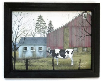 Holstein, Cow Picture, Billy Jacobs Art Print, Farmhouse Decor, Primitive Art, Wall Hanging, Handmade, 19X15, Custom Wood frame, Made in USA