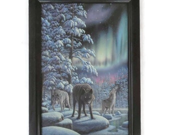 Rivers of Light, Wolves, Arctic Wildlife Picture, Far North, Northern Lights, Art Print, Handmade, 21x15, Custom Wood Frame, Made in the USA