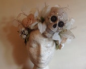 White Rose and Lily crystal sugar skull day of the dead halloween headdress