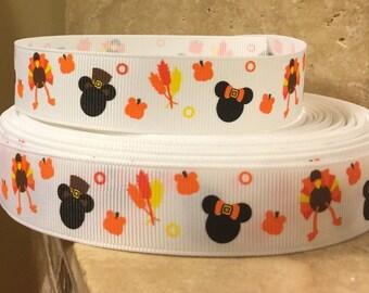 5 YDS Mickey Turkey Day Thanksgiving Ribbon