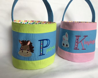 Fabric Easter Basket - Personalized Easter Basket - Fabric Easter Basket - Egg Hunt - Farm Animal Easter Basket - Handmade Fabric Basket