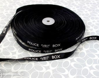 "Dr. Who Police Box 5/8"" Grosgrain Black Ribbon TARDIS Craft Supply Smaller Print"