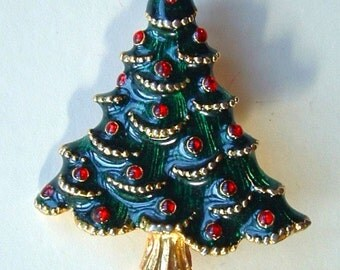 1970's Vintage Christmas Tree Enamel Painted Gold Plated - Gerry's