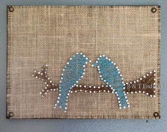 Blue Birds, Burlap, and String art wood wall art