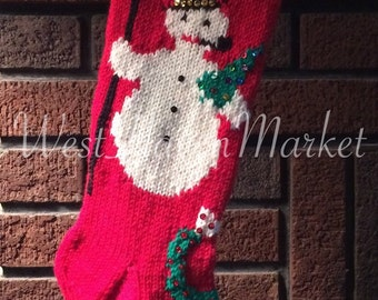 PATTERN for Vintage Snowman Stocking - HARD COPY mailed to you