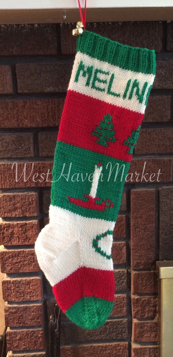 Knit Pattern For Christmas Stocking Kit : Kit for Vintage Personalized Hand Knit Christmas Tree and