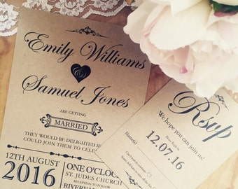 Handmade Wedding Invitation, Rustic wedding invitation, Vintage wedding invitation, Shabby chic invitation