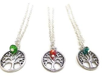 Tree of Life Necklace with Crystal Bead, Tree Necklace, Silver Tree Necklace, Crystal Necklace, Tree of Life, Boho Necklace, Nature Jewelry