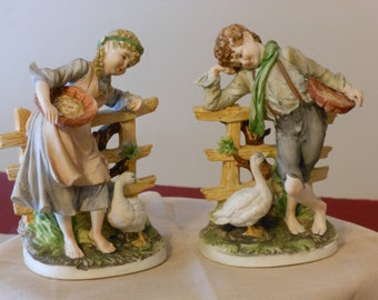 A Pair of Vintage Rustic Lefton Figurines/Bookends