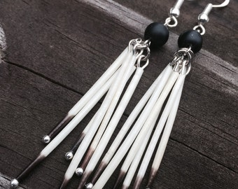 Matte onyx native porcupine quill earrings