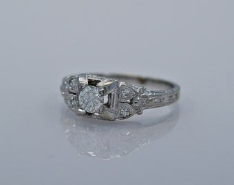 0.33ct. Diamond & 18K White Gold Art Deco Engagement Ring- J34443