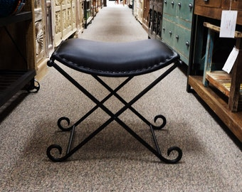 Black Iron & Leather Chair