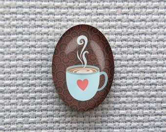 Magnetic Coffee Cup Needle Minder for Cross Stitch, Embroidery, & Needlecrafts (18mmx25mm with Strong Magnet)
