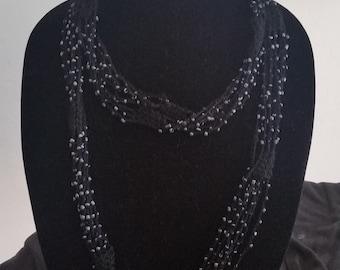 Black Crochet Beaded Necklace