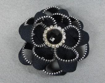 Black Flower Pin, Black Flower Brooch, zipper pin, zipper brooch, black zipper, upcycled, recycled, repurposed, zipper flower, zipper art
