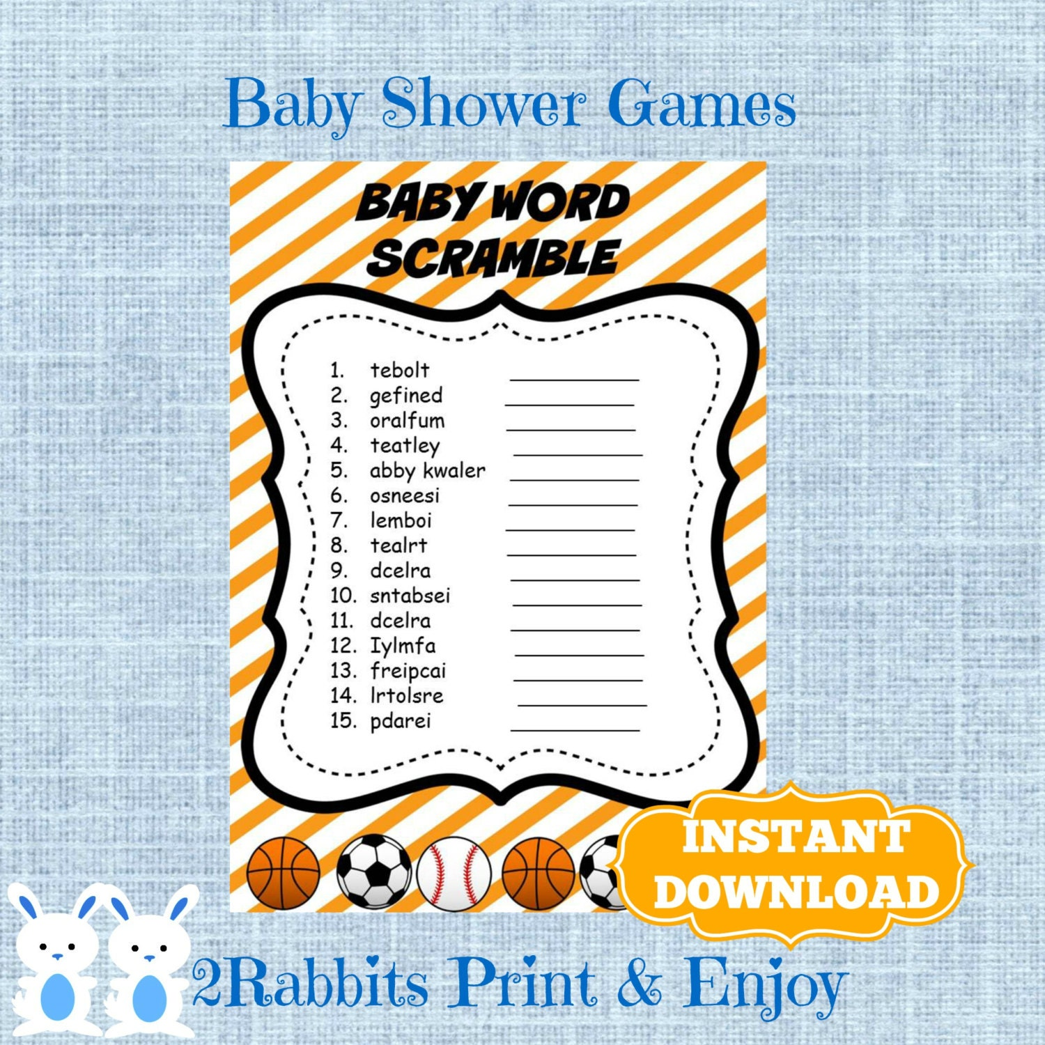 sports baby shower word scramble with by 2rabbitsprintenjoy