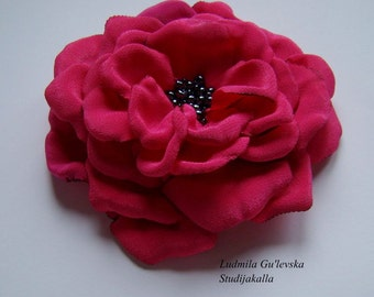Handmade crimson satin flower brooch, flower  pin
