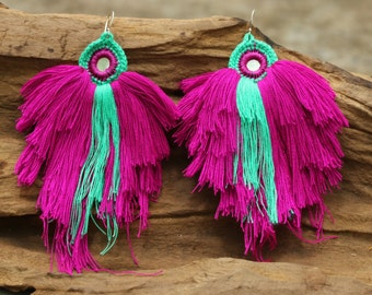 Purple and green turquoise knitting coton yarn earrings with sterling silver hooks