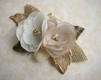 Gold Hair Accessories, Rustic Wedding Hair Piece, Gold Hair Comb, Bridal Headpiece, Wedding Hair Accessories, Burlap Lace Clip, Ivory Flower