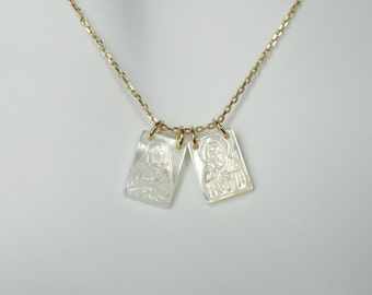 Scapular Style Mother of Pearl on Gold Over Sterling Silver Chain Necklace