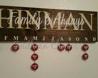 Family Birthdays wooden sign with chips. Need help remembering all the birthdays in the family? This is a great addition to any home decor!