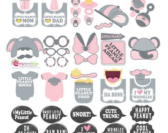 40 Adorable Elephant Girl Little Peanut Baby Shower Birthday Photo Booth Props - Pink and Gray - INSTANT DOWNLOAD DIY (Pdf)